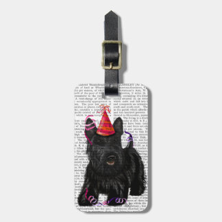 Scottish Terrier and Party Hat Luggage Tag
