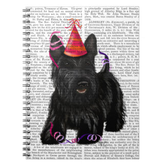 Scottish Terrier and Party Hat Spiral Notebook