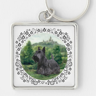 Scottish Terrier at Fairy Tale Castle Keychain