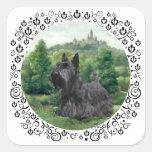 Scottish Terrier at Fairy Tale Castle Square Sticker