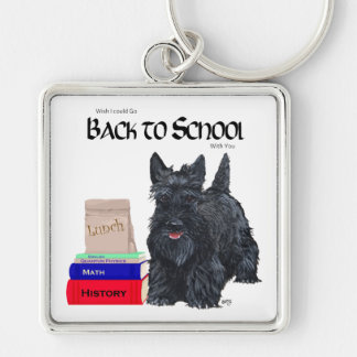 Scottish Terrier Back to School Silver-Colored Square Keychain