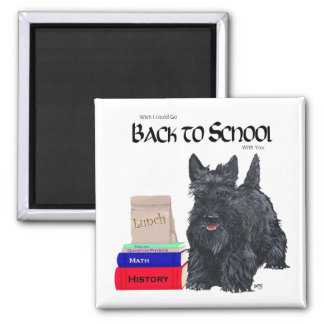 Scottish Terrier Back to School 2 Inch Square Magnet
