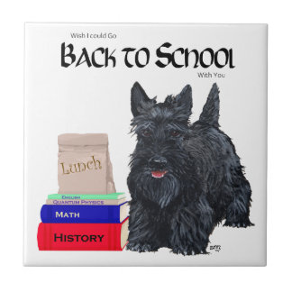 Scottish Terrier Back to School Small Square Tile