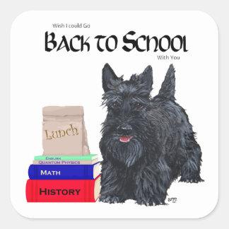 Scottish Terrier Back to School Square Sticker