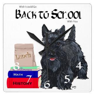 Scottish Terrier Back to School Square Wallclocks