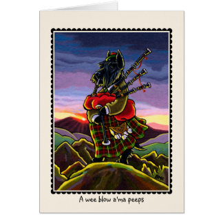 Scottish Terrier Bagpipe Dog Card Card