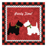 Scottish Terrier Black and White Christmas Fun Custom Announcements