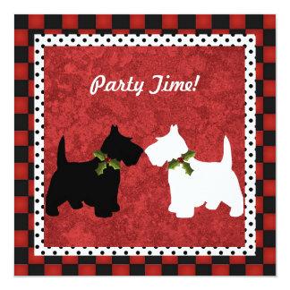 Scottish Terrier Black and White Christmas Fun 5.25x5.25 Square Paper Invitation Card