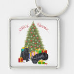 Scottish Terrier & Black Cat Christmas Keychain