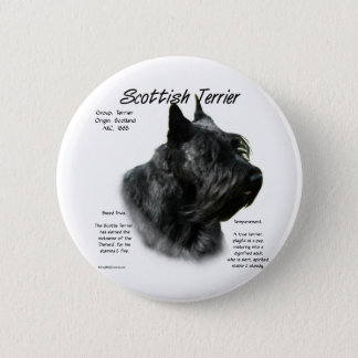 Scottish Terrier (black) History Design Pinback Button