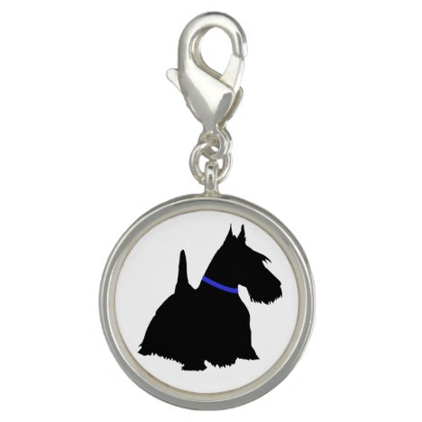 Scottish Terrier black silhouette with red collar Charm