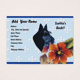 Scottish Terrier - Blue w/ White Diamond Design Business Card