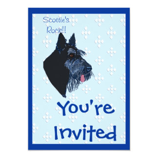 Scottish Terrier - Blue w/ White Diamond Design Card