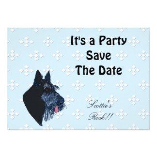 Scottish Terrier - Blue w White Diamond Design Announcements