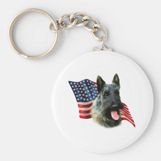 Scottish Terrier (brindle) Flag Key Chains