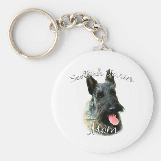 Scottish Terrier (brindle) Mom 2 Basic Round Button Keychain