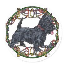 Scottish Terrier Celtic Knotwork Classic Round Sticker
