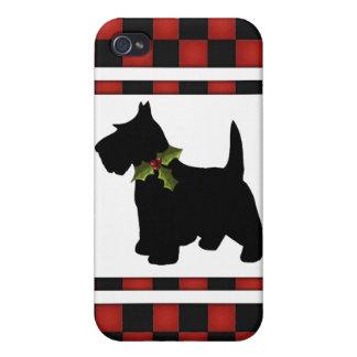 Scottish Terrier Checks Scottie Dog Christmas iPhone 4/4S Cover