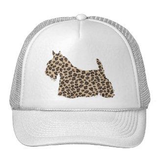 Scottish Terrier Cheetah Print Trucker Hats