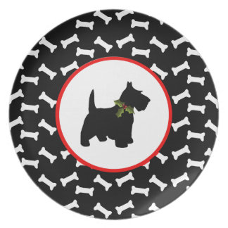 Scottish Terrier Christmas Dog Bones Melamine Plate