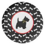 Scottish Terrier Christmas Dog Bones Party Plate