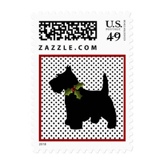 Scottish Terrier Christmas Fun Scottie Dog Dots Postage Stamps