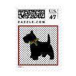 Scottish Terrier Christmas Fun Scottie Dog Dots Stamp