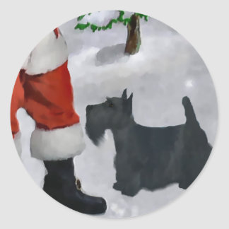 Scottish Terrier Christmas Gifts Classic Round Sticker