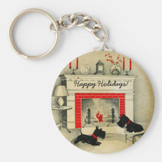 Scottish Terrier Christmas Holidays Puppies Keychain
