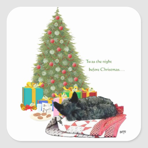 Scottish Terrier Christmas Nap Square Stickers