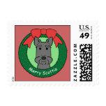 Scottish Terrier Christmas Postage Stamp