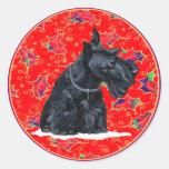 Scottish Terrier Christmas Round Stickers