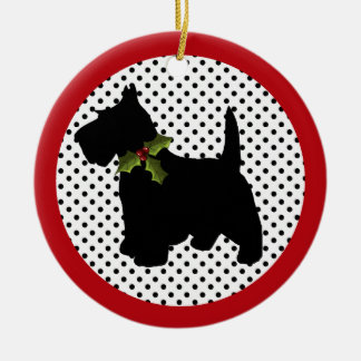 Scottish Terrier Christmas Scottie Dog Double-Sided Ceramic Round Christmas Ornament