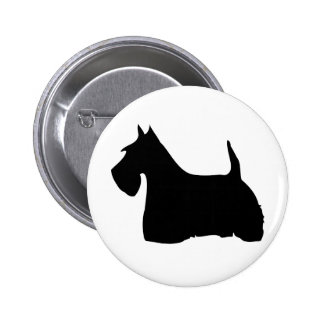 Scottish Terrier dog black silhouette button pin