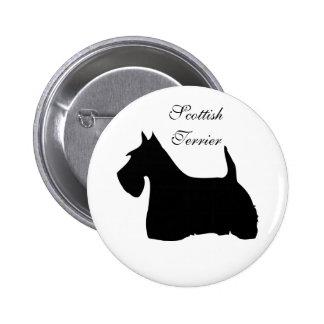 Scottish Terrier dog black silhouette button, pin