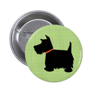 Scottish Terrier dog black silhouette button pin