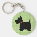 Scottish Terrier dog black silhouette keychain