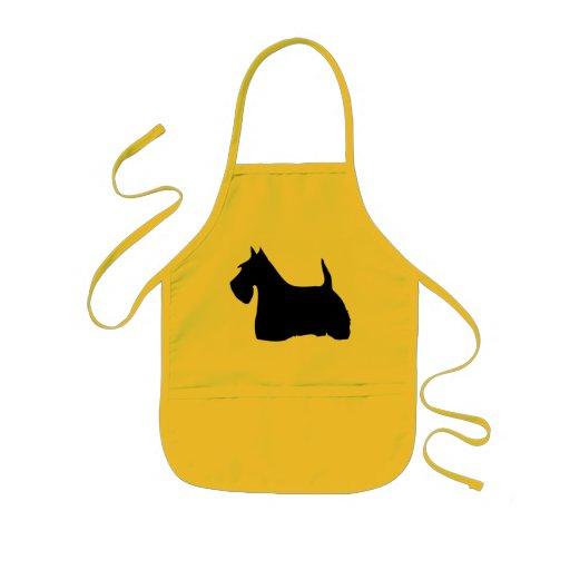 Scottish Terrier dog black silhouette kids apron