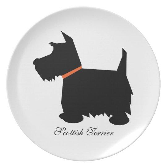 Scottish Terrier dog black silhouette plate