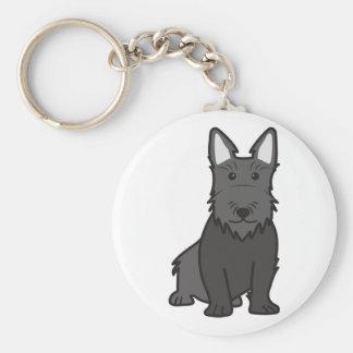 Scottish Terrier Dog Cartoon Basic Round Button Keychain