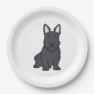 Scottish Terrier Dog Cartoon Paper Plate