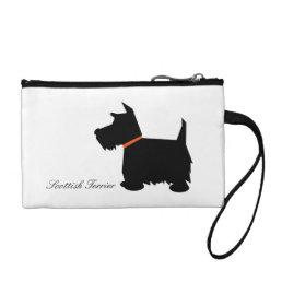 Scottish Terrier dog cute black silhouette, custom Change Purse