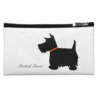 Scottish Terrier dog cute black silhouette, custom Cosmetic Bags