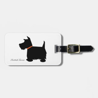 Scottish terrier dog cute black silhouette custom tag for bags