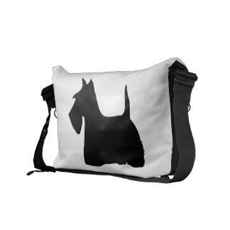 Scottish Terrier dog cute black silhouette, gift Messenger Bag