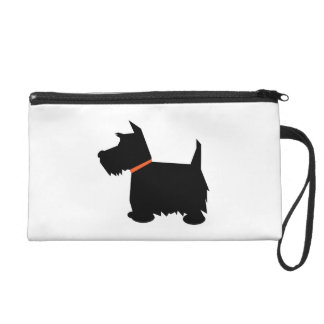 Scottish Terrier dog cute black silhouette, gift Wristlet Purse