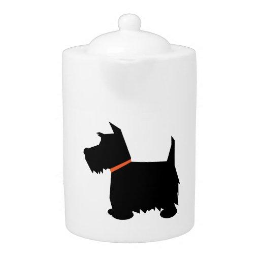 Scottish Terrier dog cute black silhouette teapot