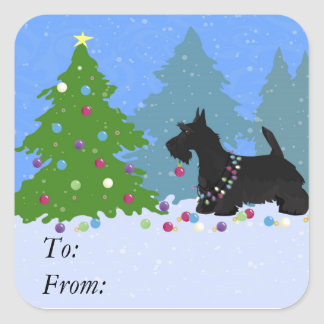 Scottish Terrier Dog Decorating Christmas Tree Square Sticker