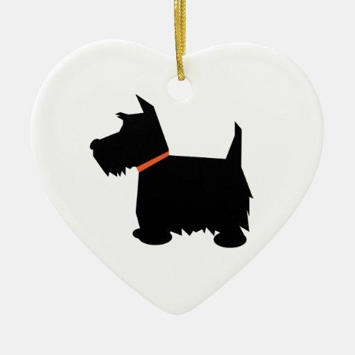 Scottish Terrier dog hanging heart ornament,