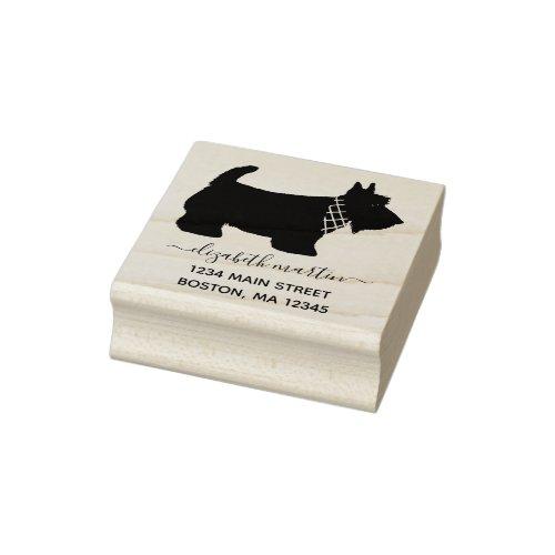 Scottish Terrier Dog Monogram Name Return Address Rubber Stamp